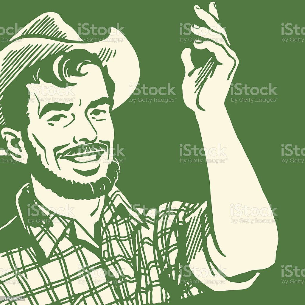 A farmer with a beard making hand gestures royalty-free stock vector art