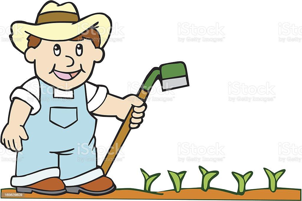 Farmer with Hoe - Cartoon royalty-free stock vector art