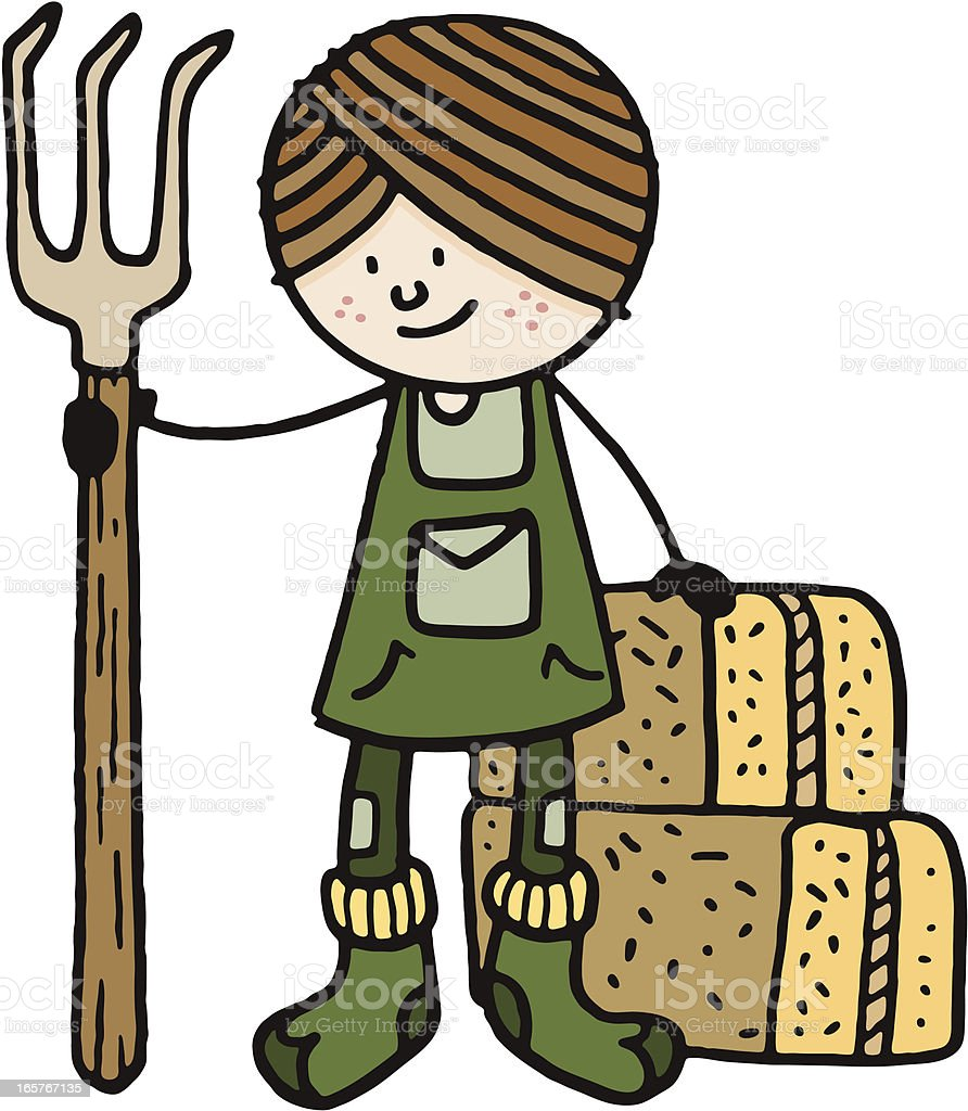 Farmer with pitch fork and bales of hay royalty-free stock vector art