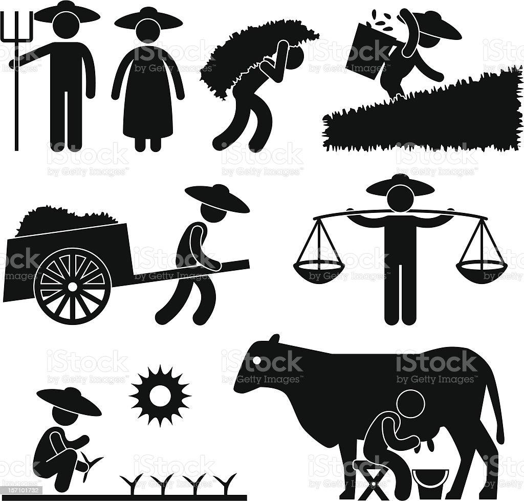 Farmer Working Pictogram vector art illustration