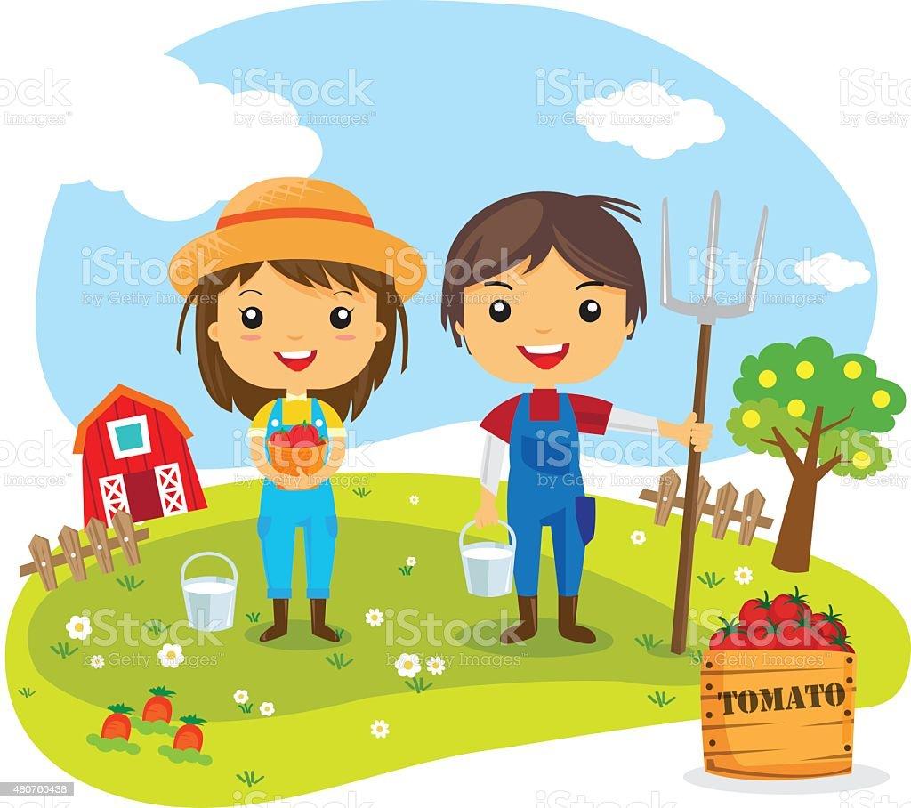 Farmers Cartoon Characters vector art illustration