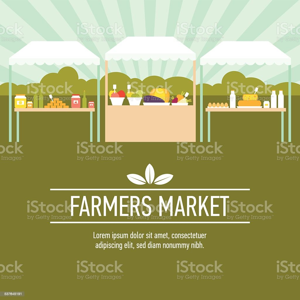 Farmers market background two vector art illustration
