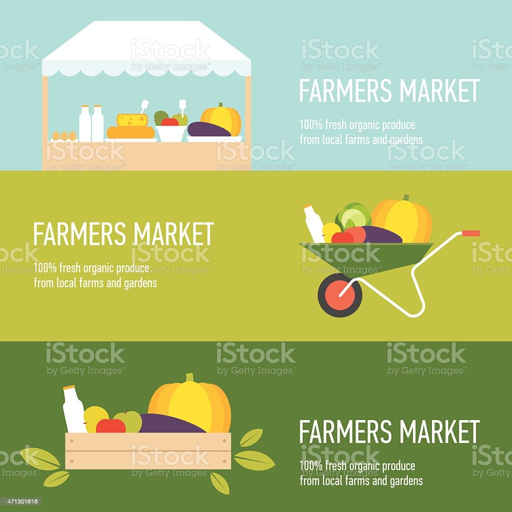 Farmers market banners set vector art illustration
