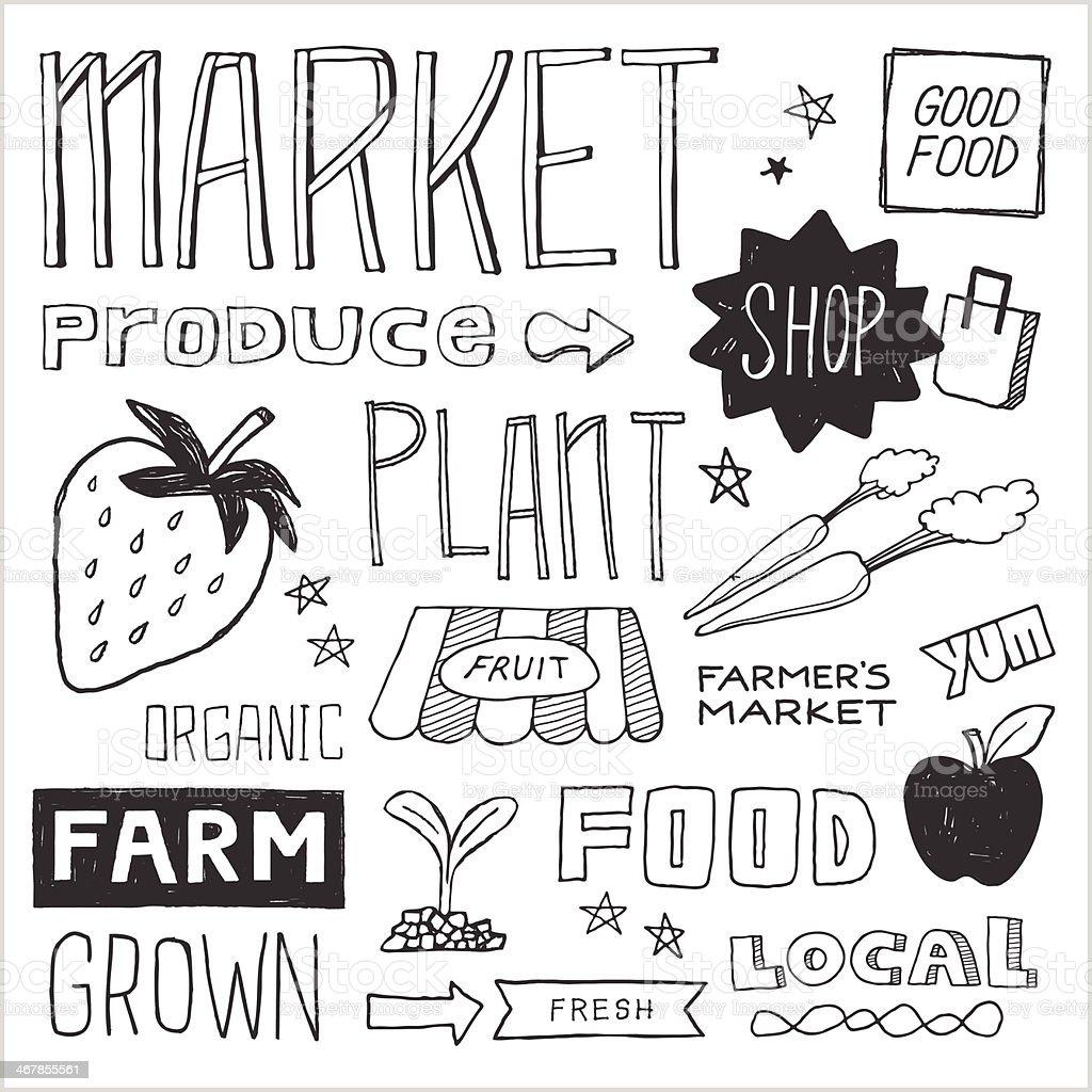 Farmer's Market Doodles — Vector Elements vector art illustration