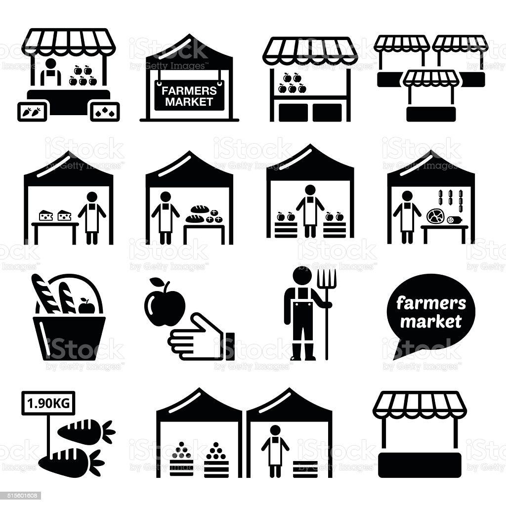 Farmers market, food market with fresh local produce icons set vector art illustration