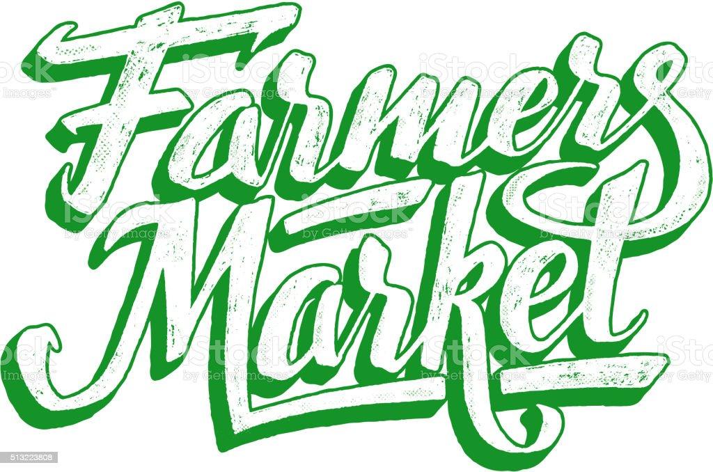 Farmers market hand lettering. Vintage poster vector art illustration