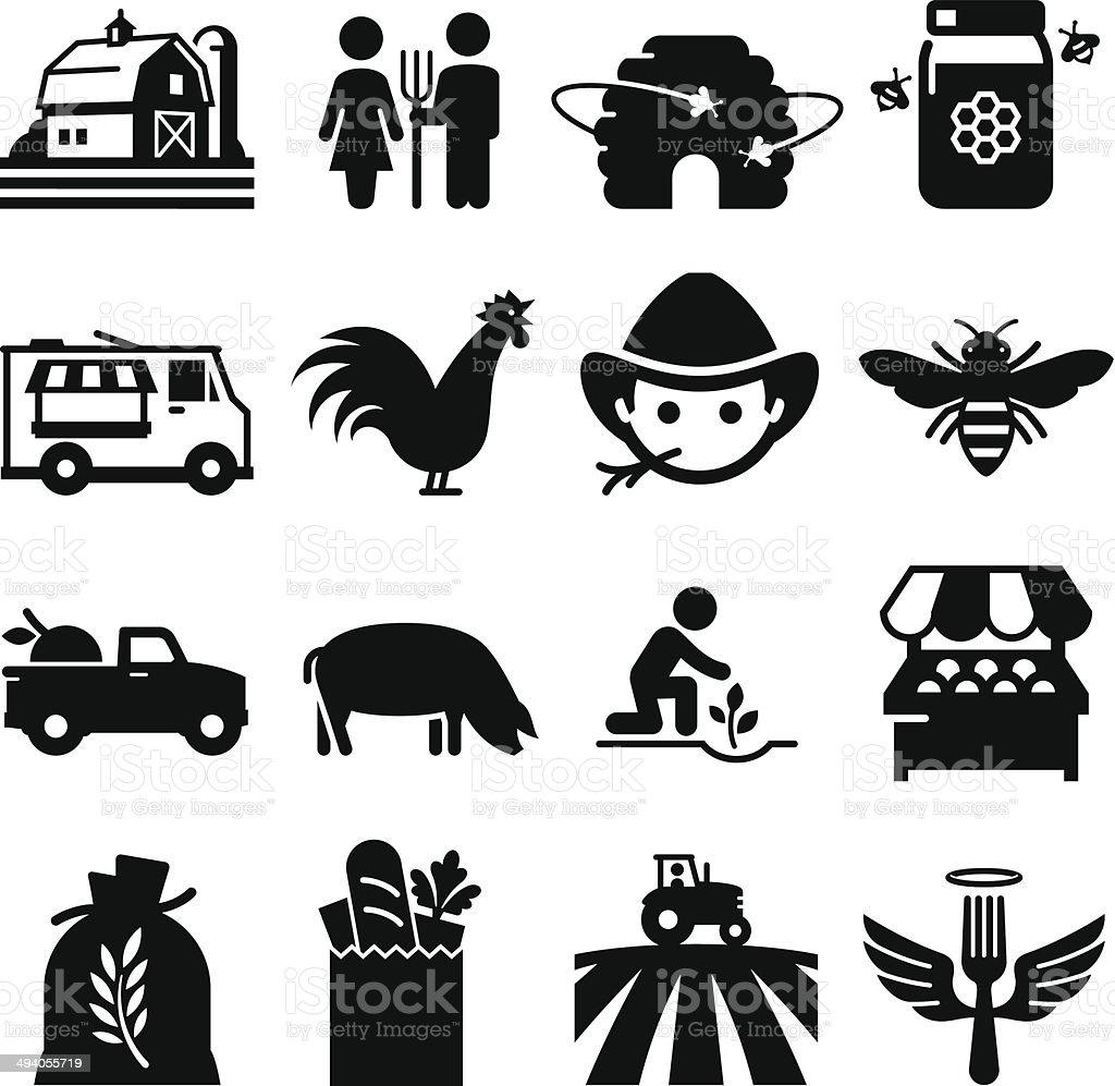 Farmer's Market Icons - Black Series vector art illustration