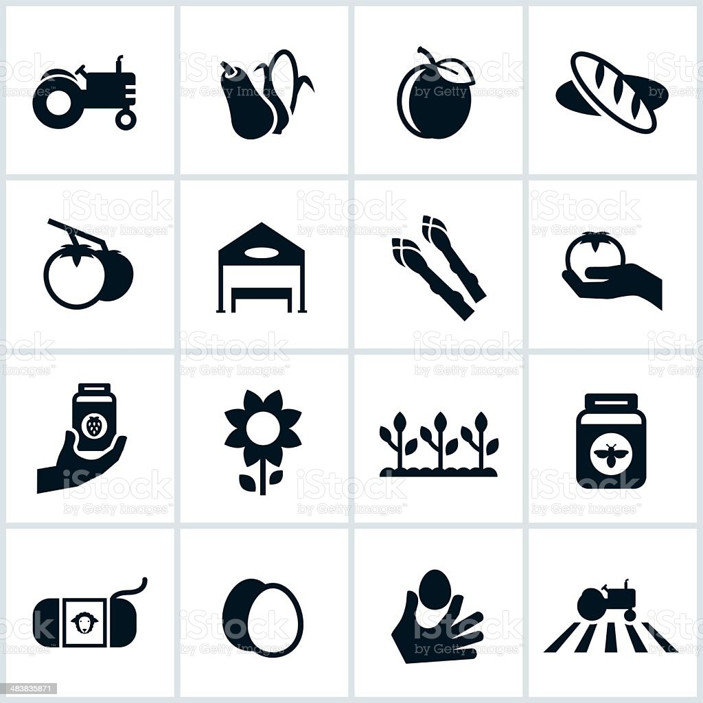 Farmers Market Icons vector art illustration