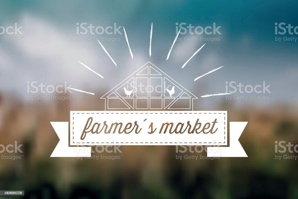 farmers market label on blurred background vector art illustration