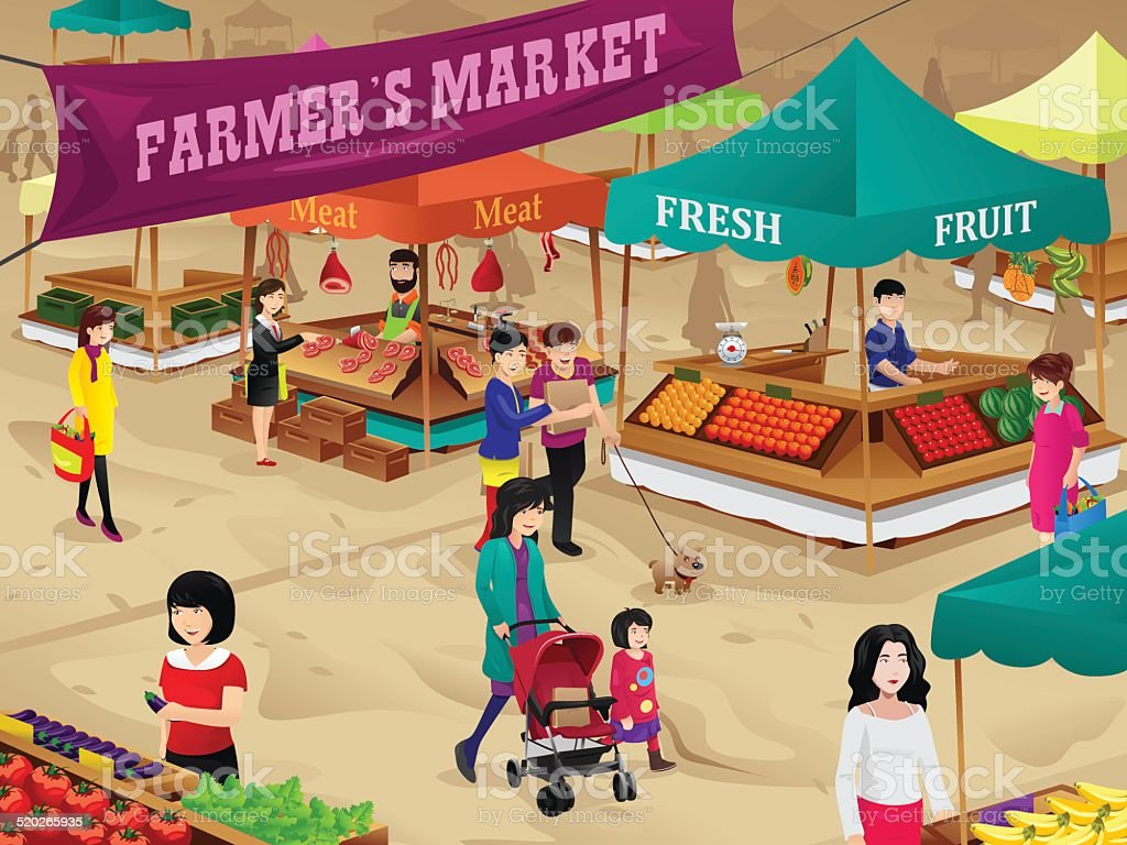 Farmers market scene vector art illustration