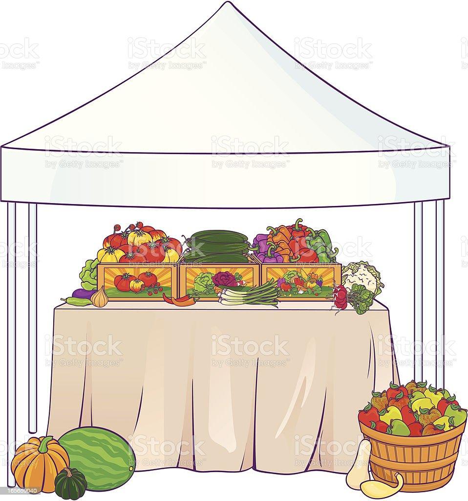 Farmers market table scene royalty-free stock vector art