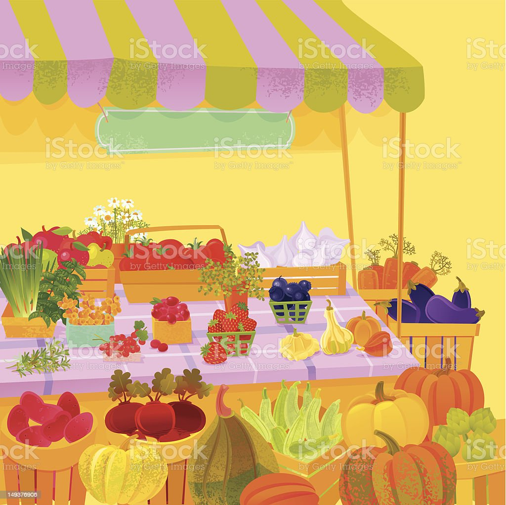 Farmer's Market vector art illustration