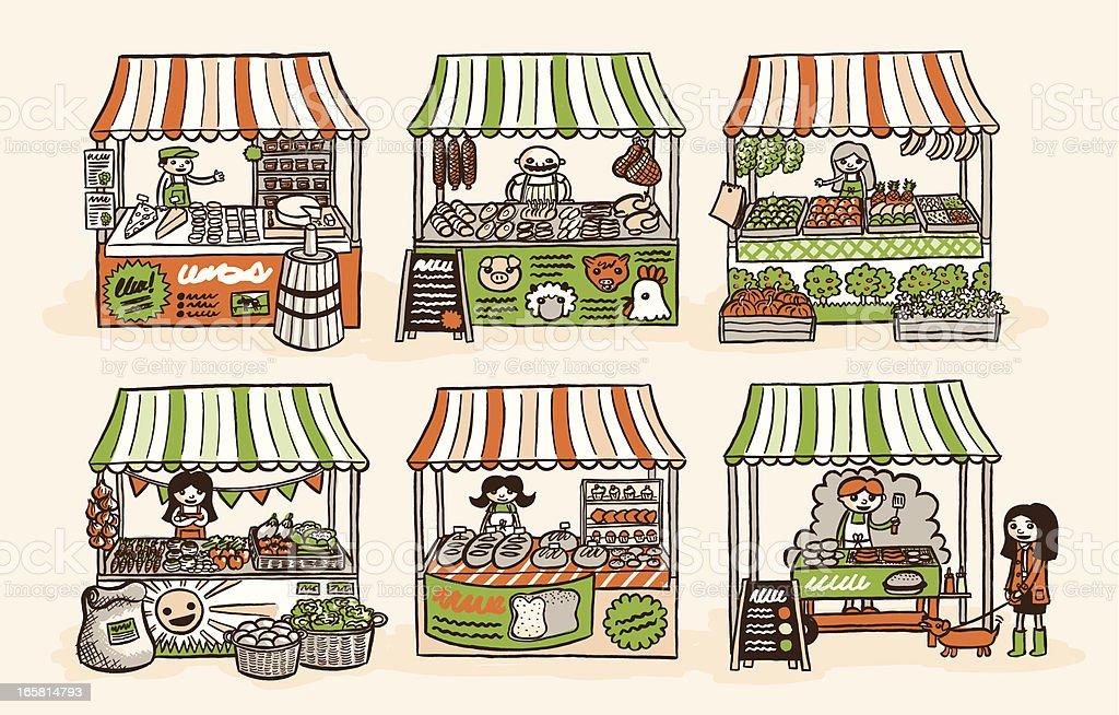 Farmer's Market vector art illustration