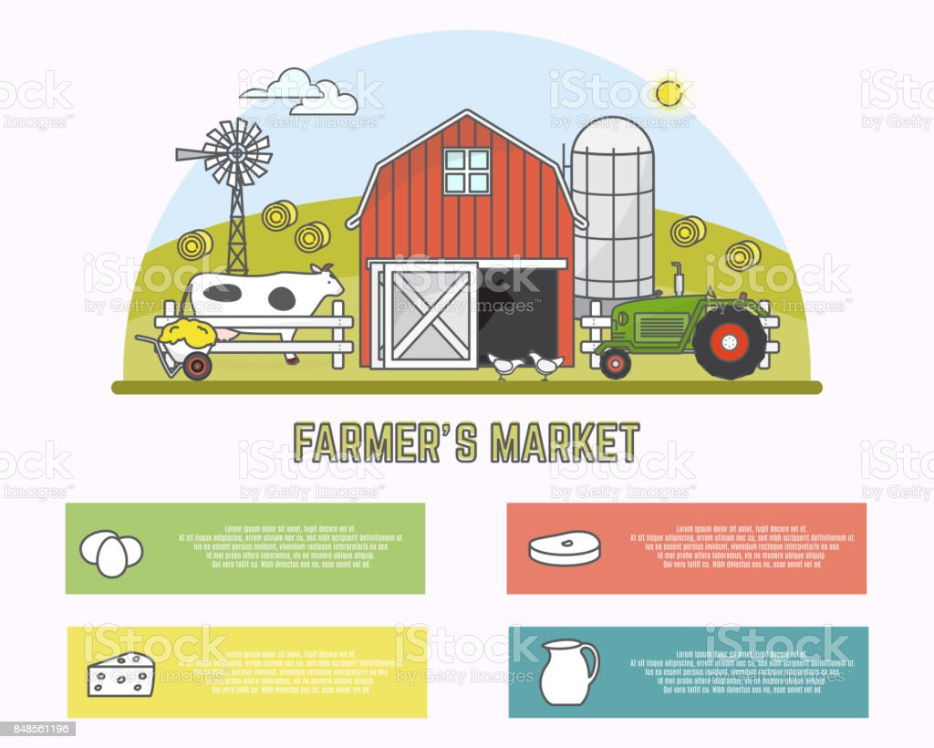 Farmers market vector illustration in linear style vector art illustration