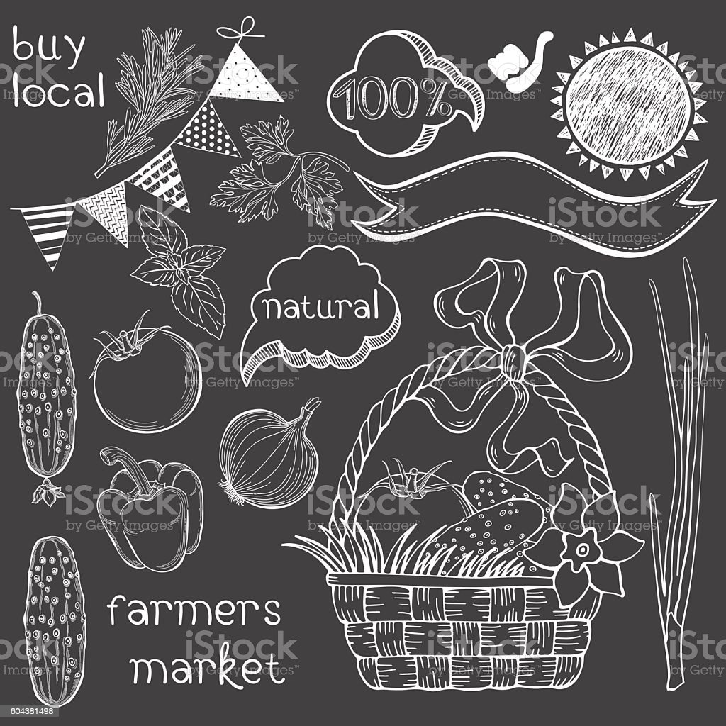 Farmer's market. Vector illustration  isolated elements for design. vector art illustration