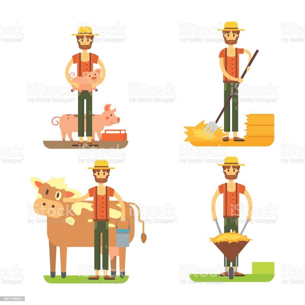 farmers using agricultural tools. Set farmer vector illustration vector art illustration