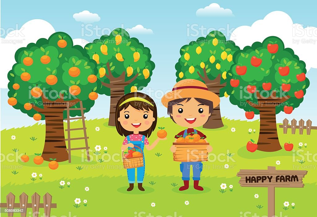 Farmers working in a farm - Cartoon vector illustration vector art illustration