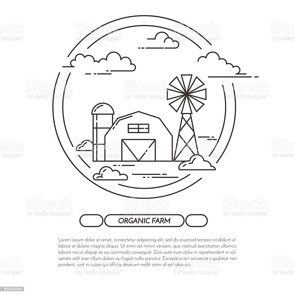 Farmhouse banner for agricultural products advertise Flat line art vector vector art illustration