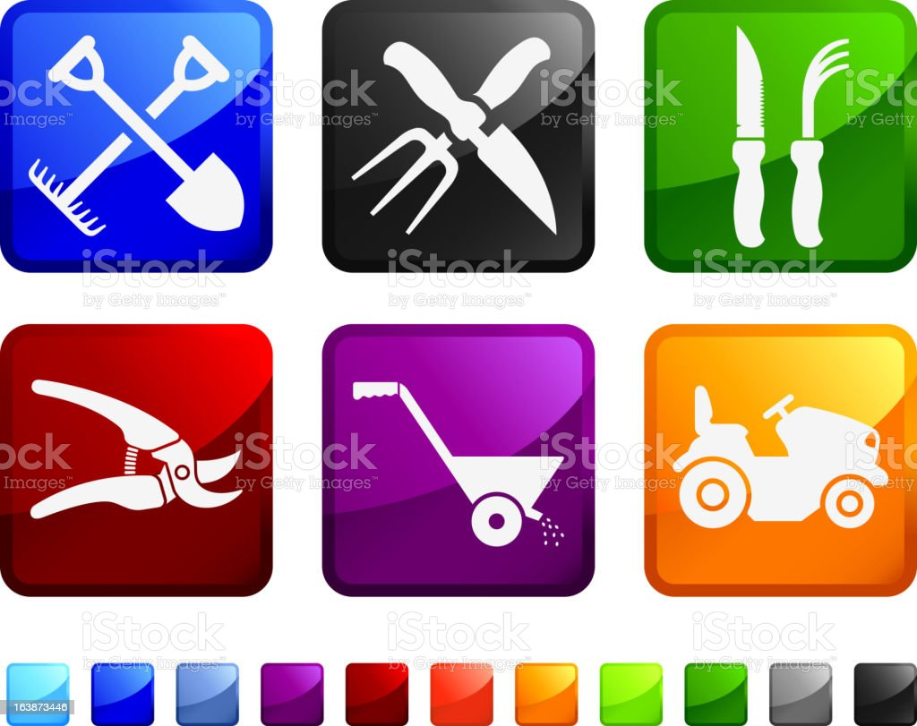Farming and Gardening Agricultural Tools vector icon set stickers royalty-free stock vector art