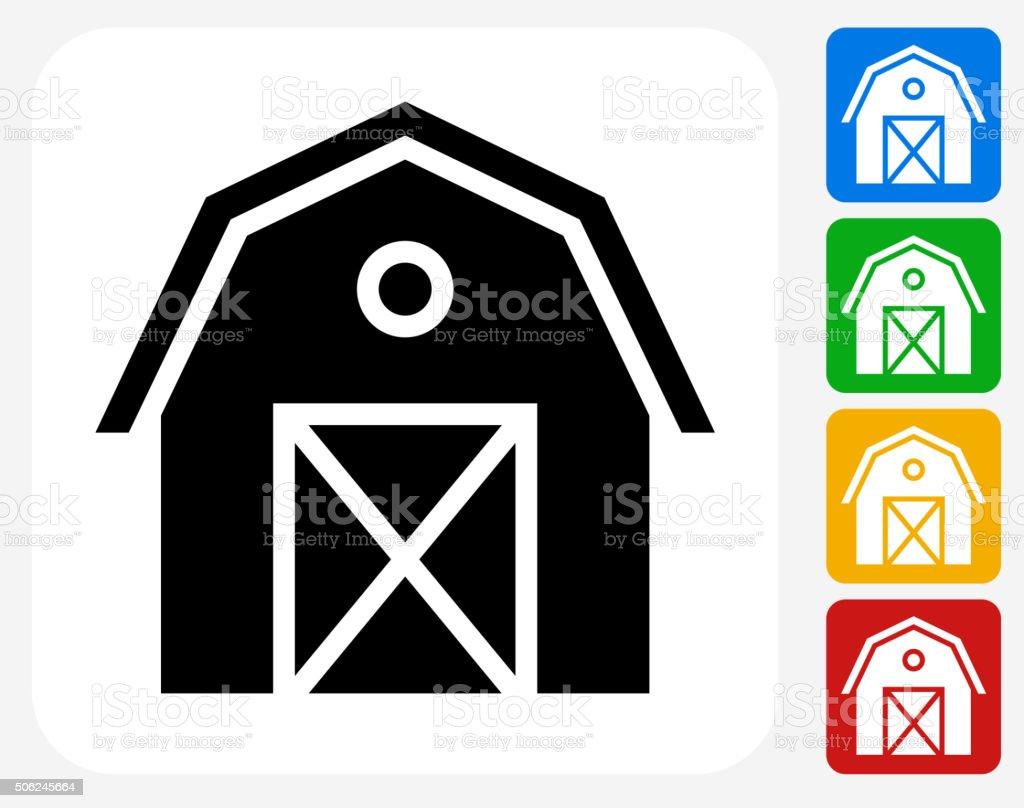 Farming Barn Icon Flat Graphic Design vector art illustration