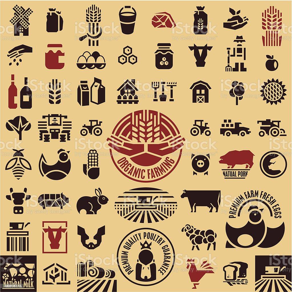 Farming equipment icons set vector art illustration