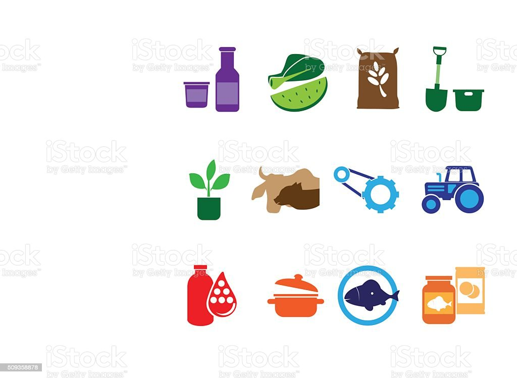 Farming, Food and Agriculture Icon vector art illustration