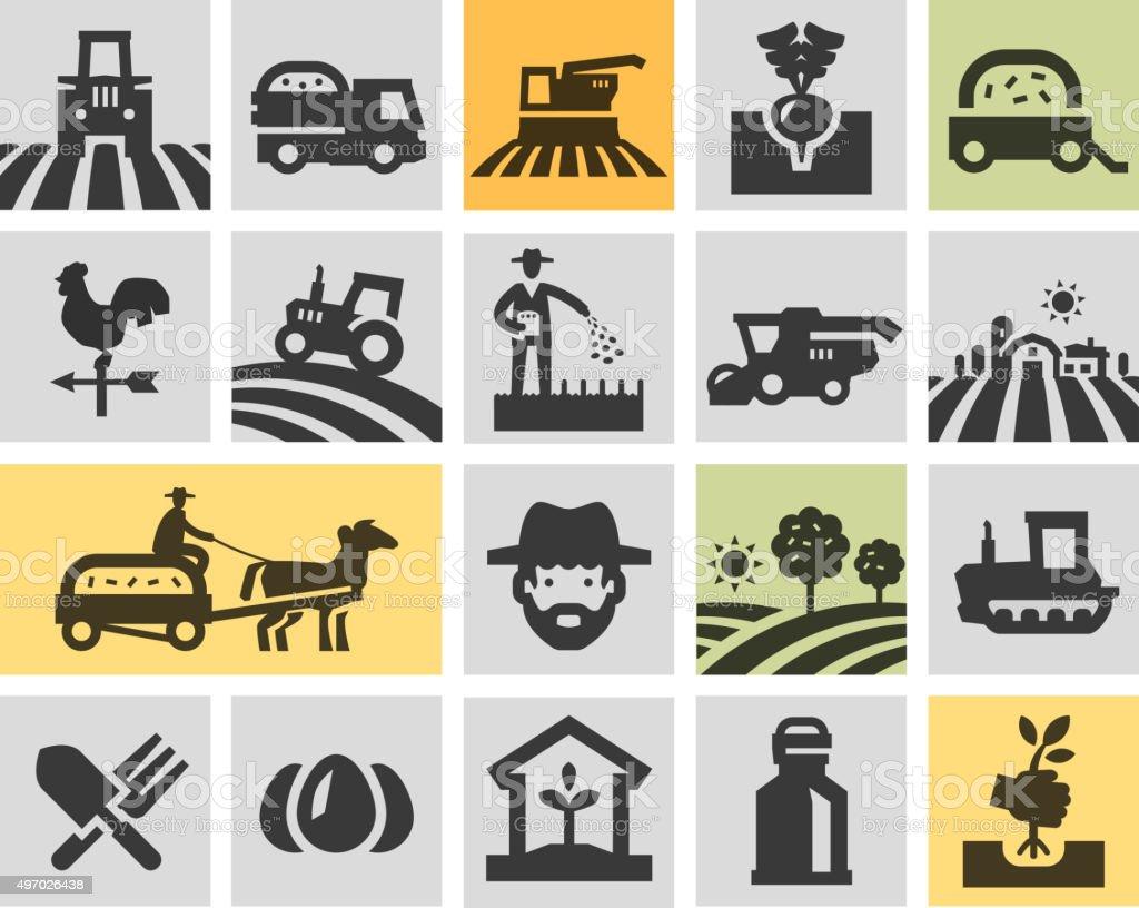 farming icons set. vector illustration vector art illustration