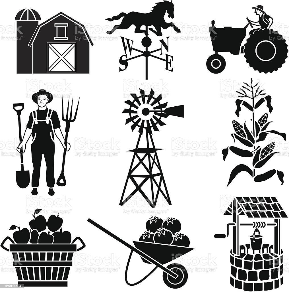 farming icons royalty-free stock vector art