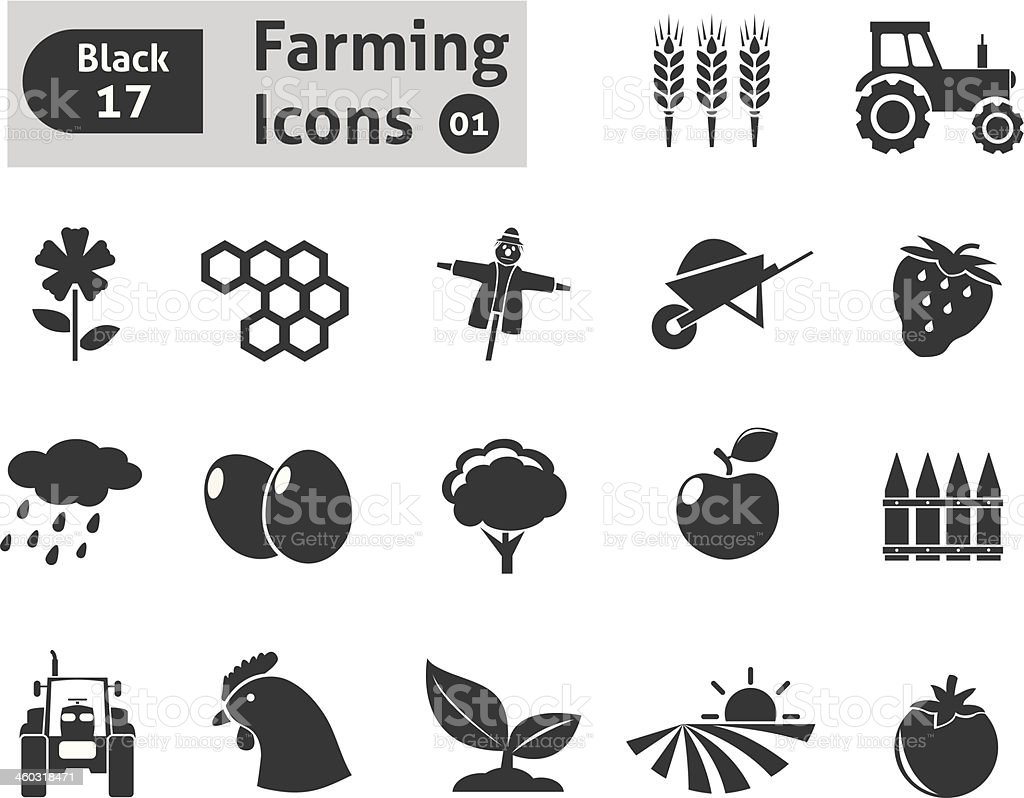 Farming icons vector art illustration