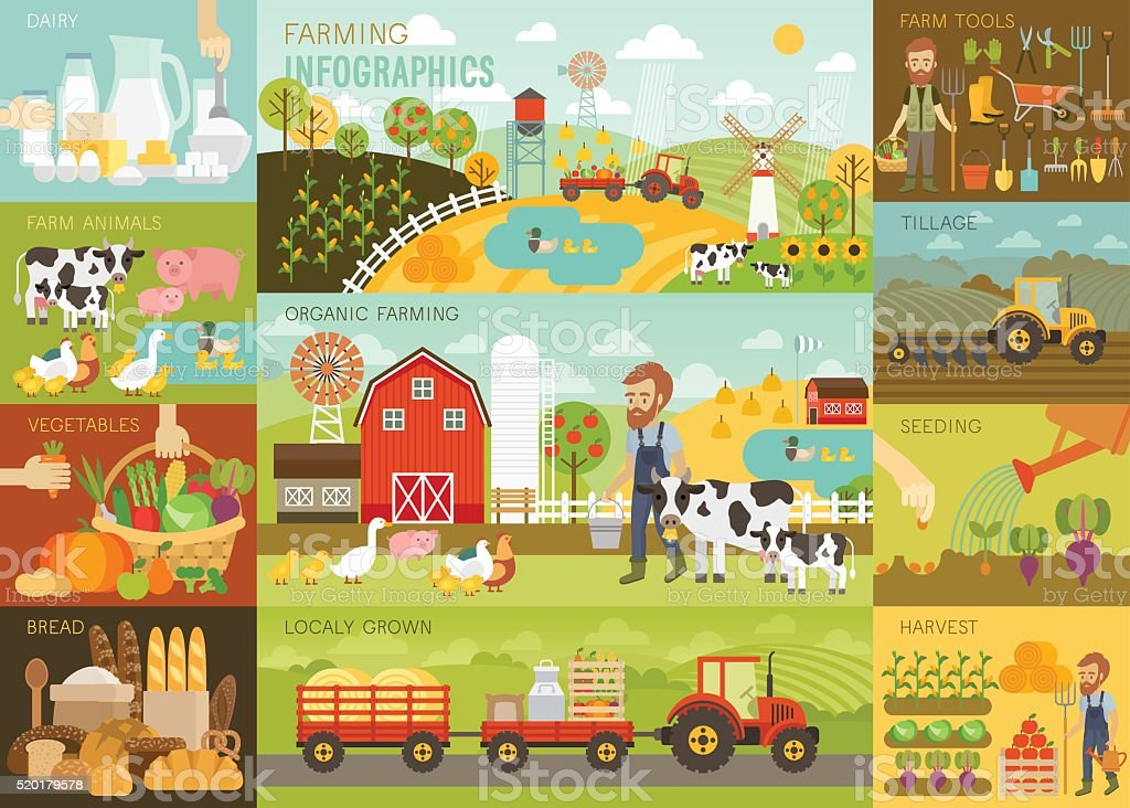 Farming Infographic set with animals, equipment and other objects. vector art illustration