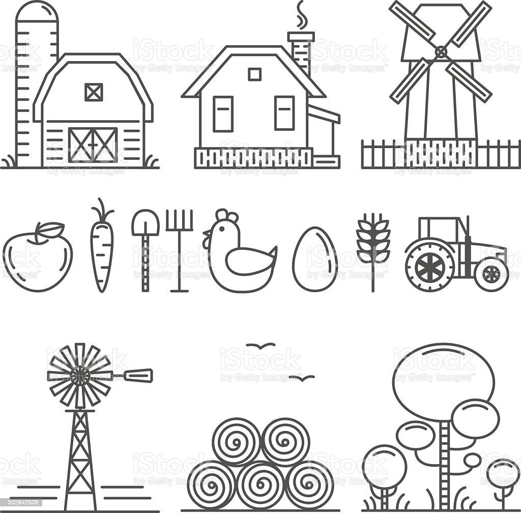 Farming Outline Icons Set vector art illustration