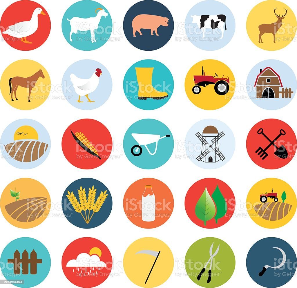 Farming related vector icons set - Illustration vector art illustration