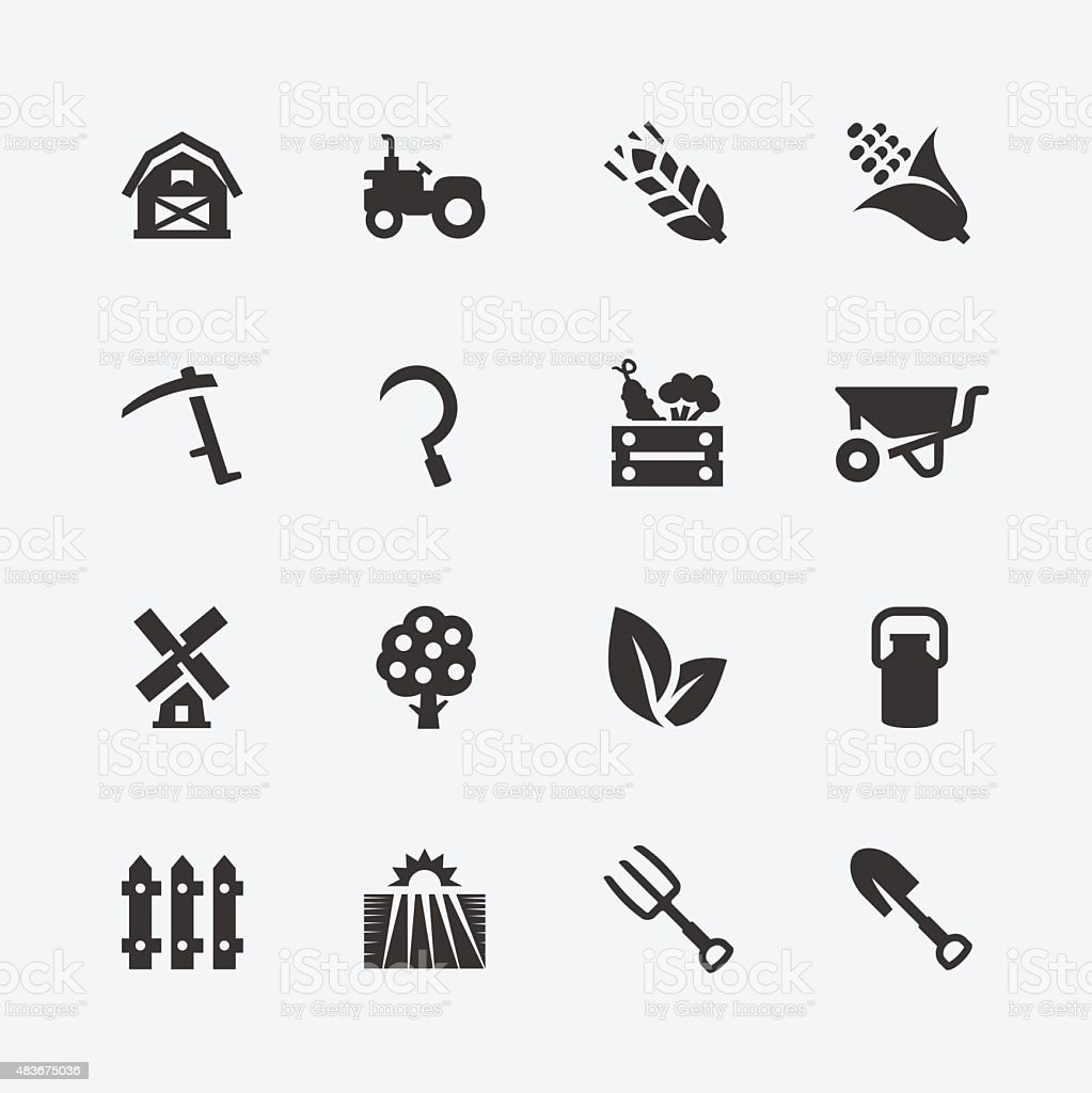 Farming related vector icons set vector art illustration