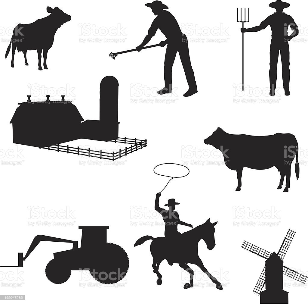 Farming Silhouette Collection (vector+jpg) royalty-free stock vector art