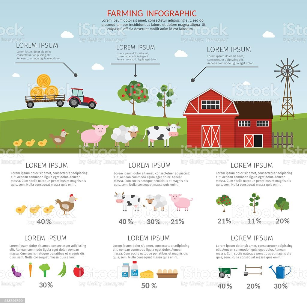 Farming vector products infographic vector art illustration