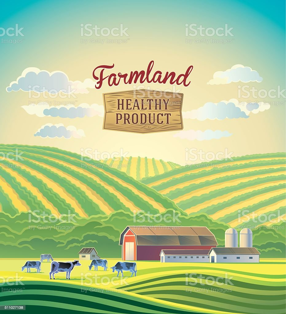 Farmland landscape. vector art illustration