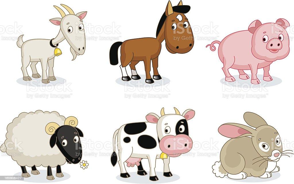 Farmyard animals vector art illustration