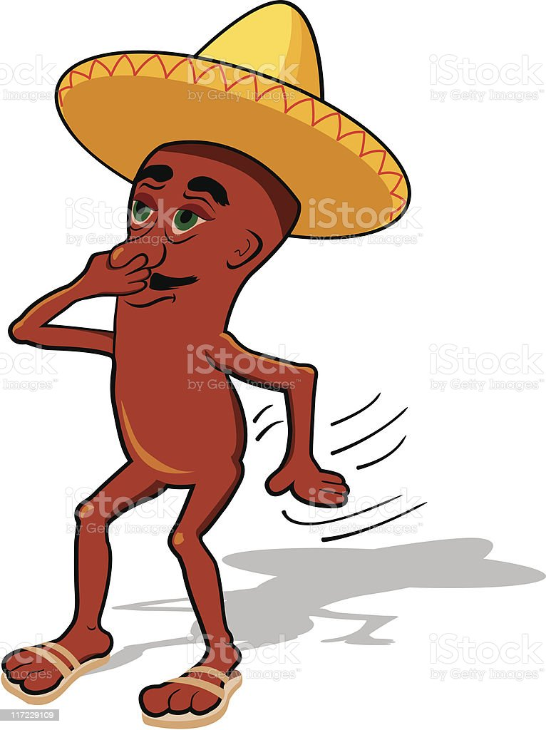 farting bean character wearing a sombrero royalty-free stock vector art