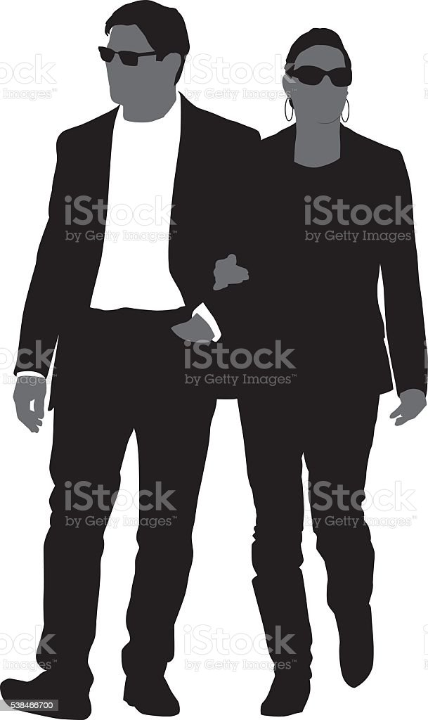 Fashioanable Couple Walking Together vector art illustration