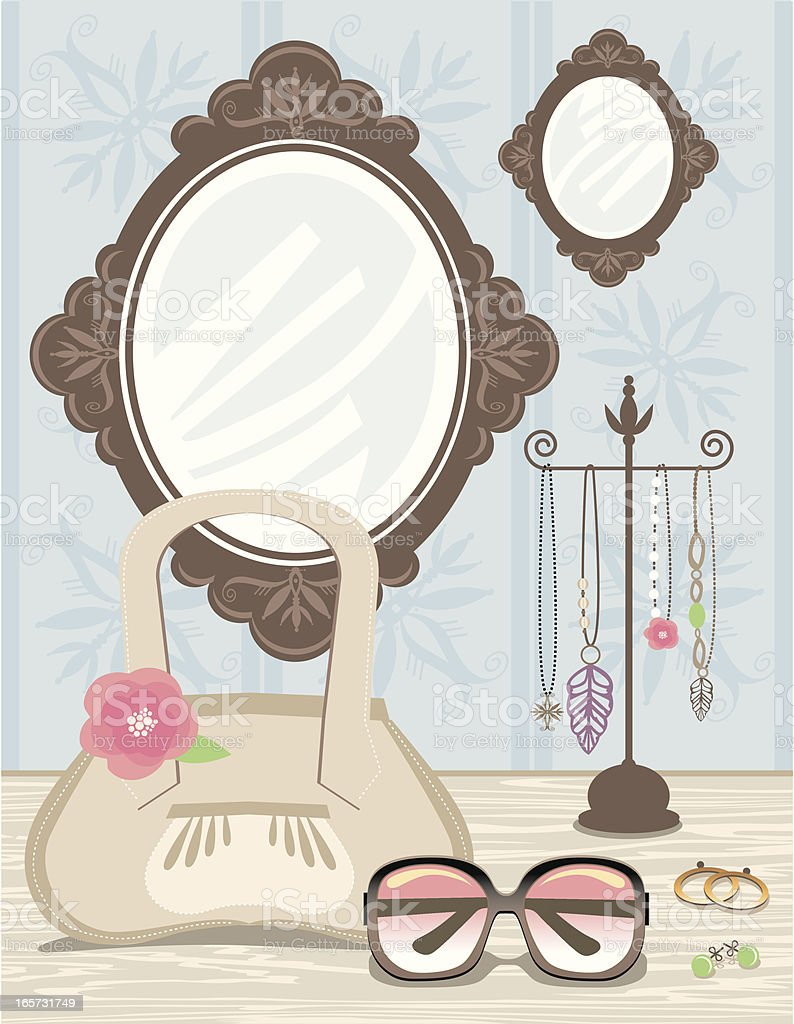Fashion accessories at dressing table vector art illustration