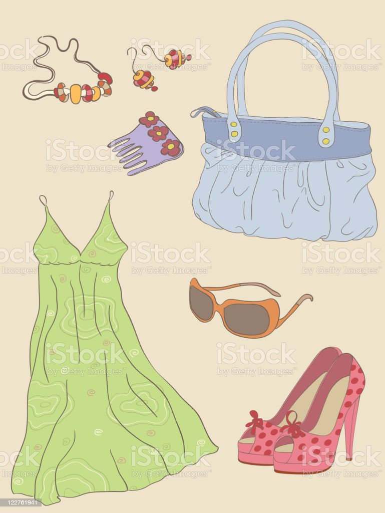 fashion accessories vector art illustration