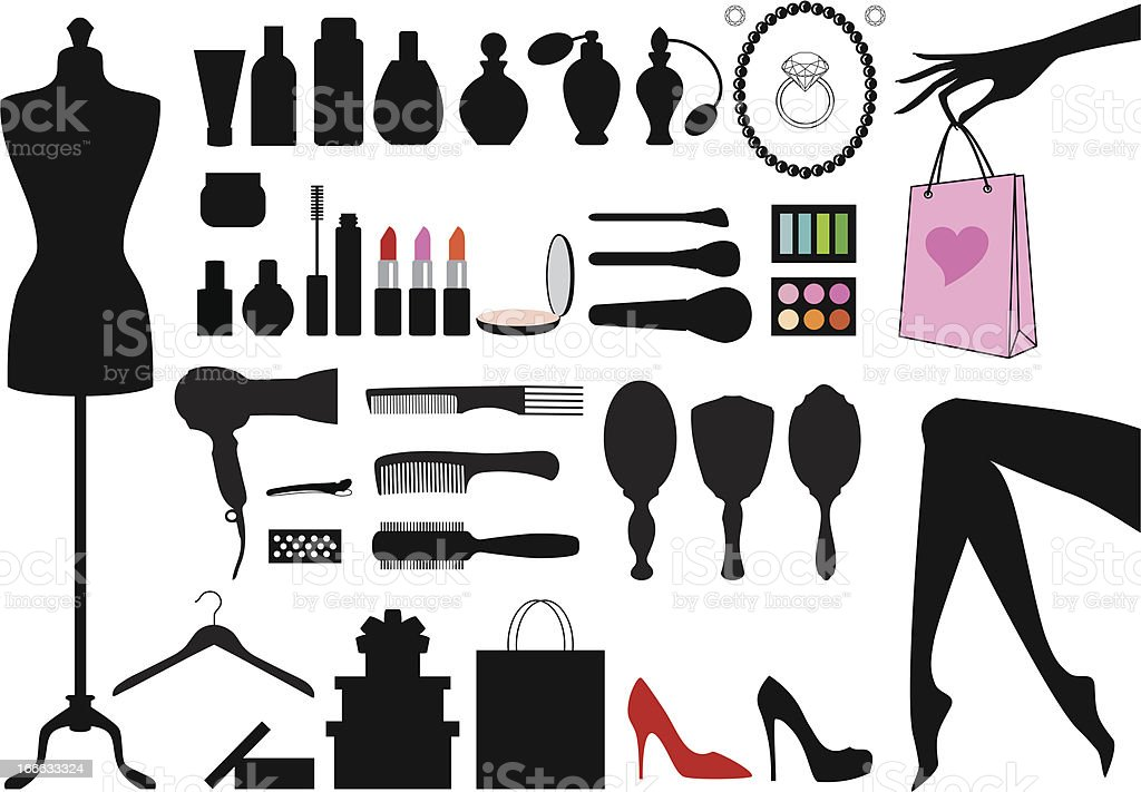 fashion and beauty, vector set royalty-free stock vector art