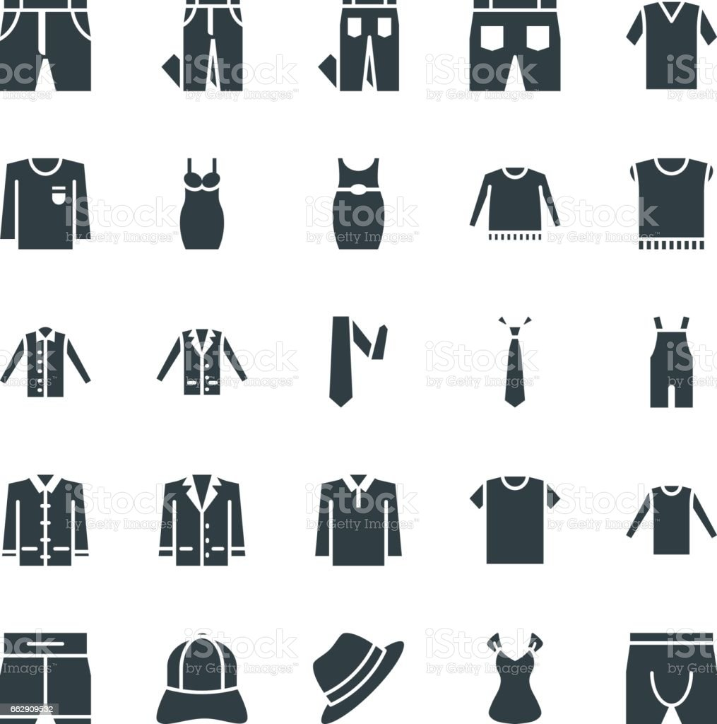 Fashion and Clothes Cool Vector Icons 8 vector art illustration