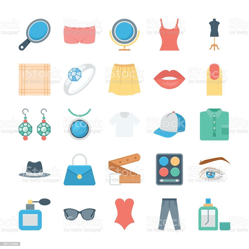 Fashion and Clothes Vector Icons 3 vector art illustration