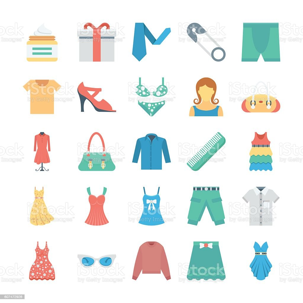 Fashion and Clothes Vector Icons 8 vector art illustration