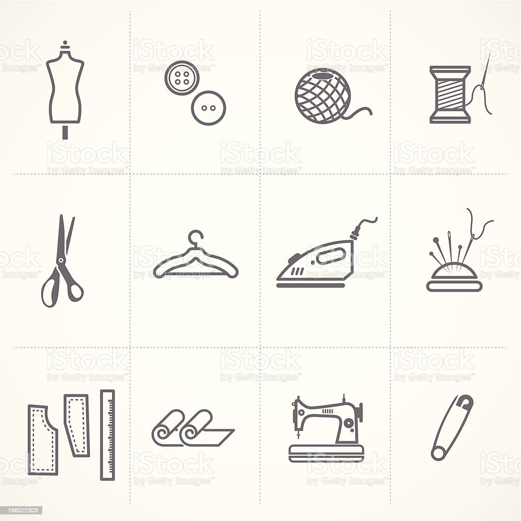 Fashion and scratched sewing related symbols icons set. royalty-free stock vector art