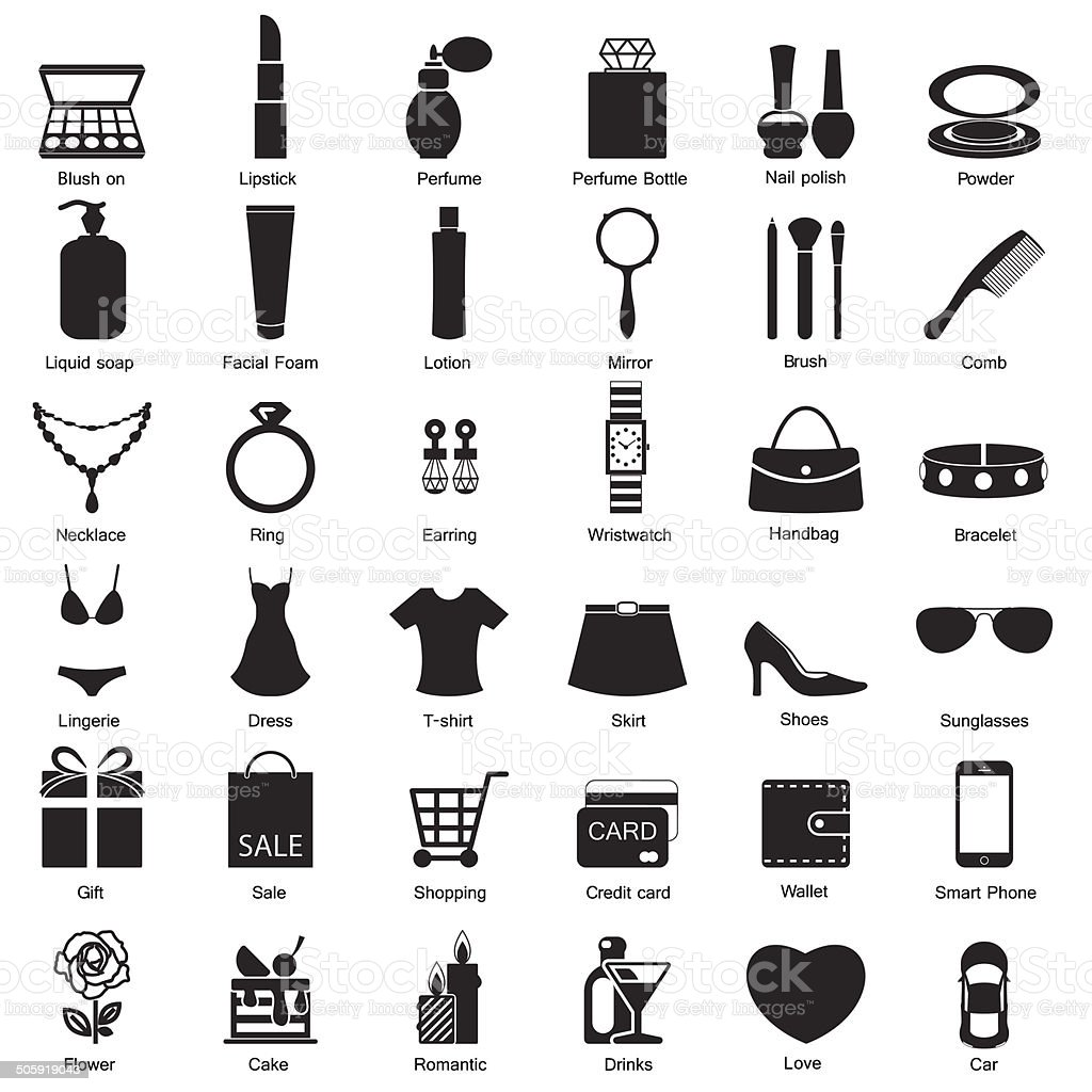 Fashion and women accessories, icons vector art illustration