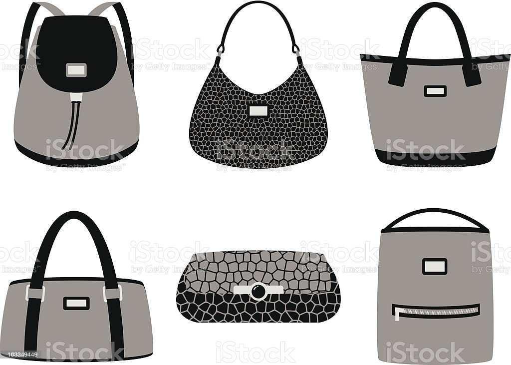Fashion bags silhouettes vector art illustration