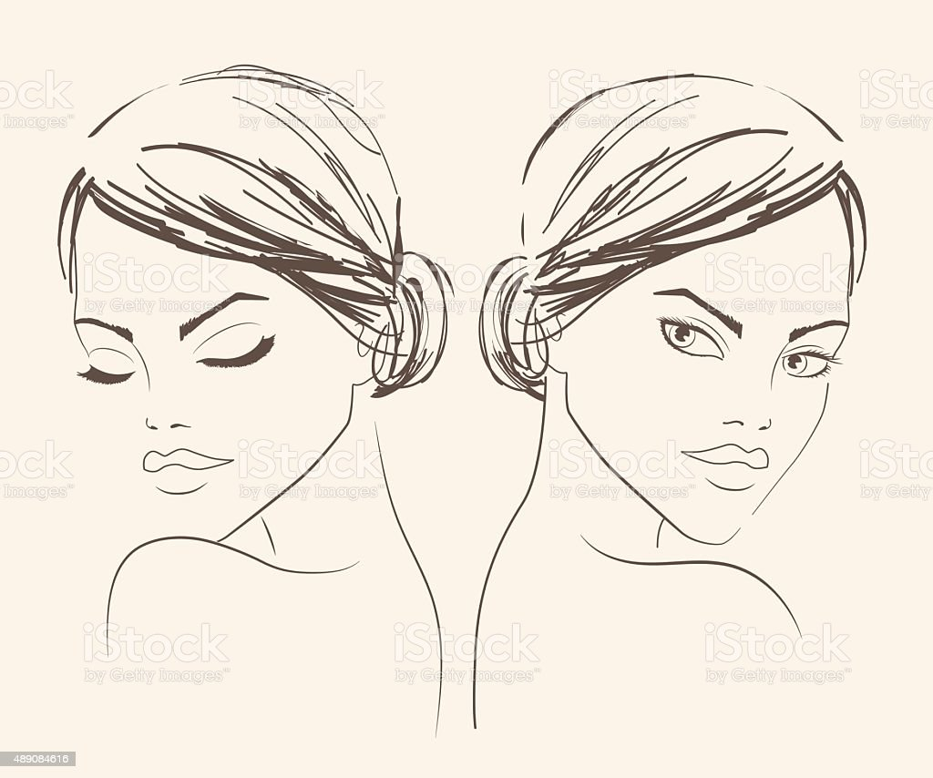 Fashion beautiful womanTwo portraits of a girl for fashion salon vector art illustration