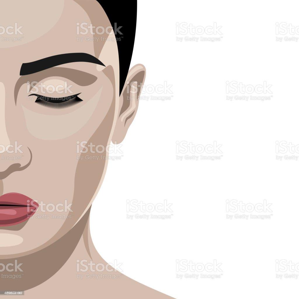 Fashion beauty half Face female Model vector art illustration